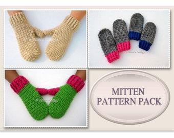Crochet Mitten Pattern Pack Crochet Patterns Adult Mittens - Crochet Pattern Children's Mittens Toddler Children Teen Adult Mittens Pattern