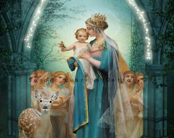 Our Lady of the Angels, Catholic Art Print, Virgin Mary print, Our Lady Arch with lights,  by Sandra Lubreto Dettori