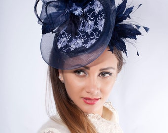 Navy fascinator hat, Melbourne cup hat, Kentucky derby fascinator, Ascot hat, Wedding guest headpiece, Couture millinery hat, lace derby hat