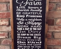 Welcome to the farm. Farm rules sign. Farm, ranch,country. Painted wood sign
