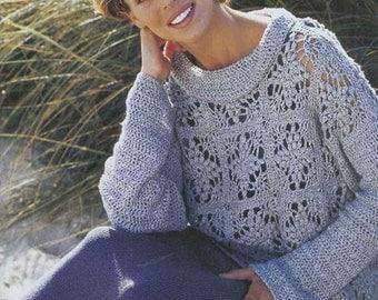 Femmes pull - tunique bleu crochet / custom