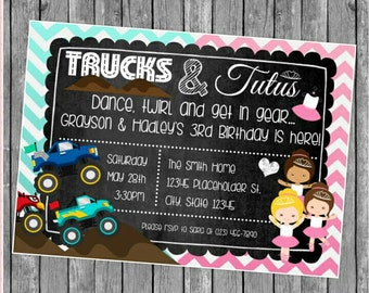 Twin or Sibling Birthday Party Invite - Monster Trucks and Tutus - Chalkboard Invite -  DIY Printable File