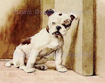 "Cecil Aldin  ""Beautiful Monster - Bulldog looking Mischievous""  c1913 Reproduction Digital  Wall Hanging Animal  Print"