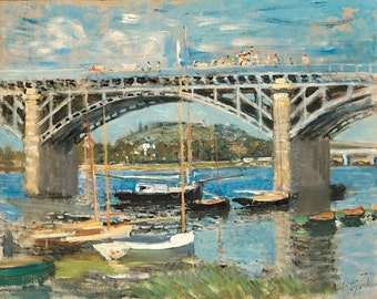 "Claude Monet ""Seine Near Argenteuil"" 1874 Reproduction Print Paris Bridge Boats Wall Hanging"