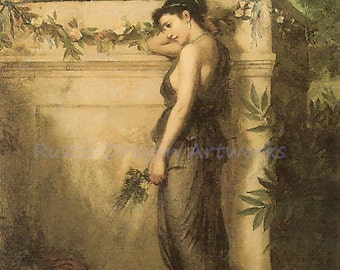 "John Waterhouse ""Gone But Not Forgotten"" Romanticism 1873 Reproduction Digital Print Vintage Print Wall Hanging"