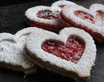 heart shaped  butter cookies, Valentine cookies, hungarian linzer cookies,Heart linzer cookies for Valentine's day, tea cookies
