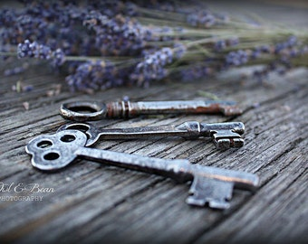 Lavender and Old Keys, Greeting Card, Blank Inside, Fine Art Photography, Home Decor