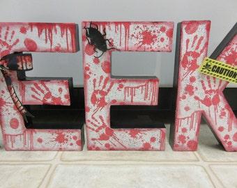 Halloween Decor-Paper Mache Bloody EEK Zombie Letters-Zombie Decor-Blood Decor