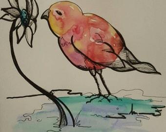 Lil Birdie #2, 6×8 watercolor painting