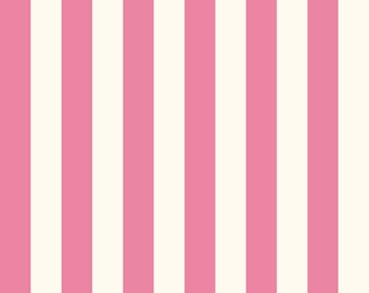 Le Creme Hot Pink and Cream 1 Inch- Riley Blake Fabric C650-70 - Cotton Quilting Fabric by the Yard -34 Inch Remnant - DLP