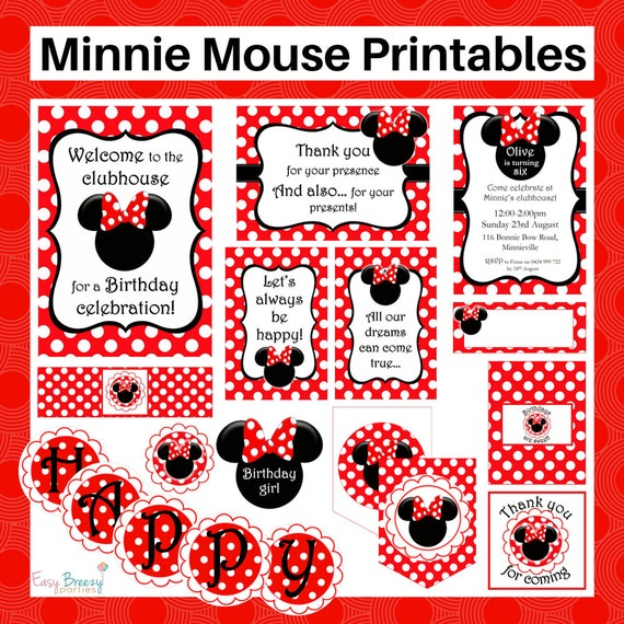 Red Minnie Mouse Printable Set FREE By EasyBreezyParties