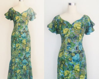 1950s Stan Hicks Hawaiian Atomic Print Long Fishtail Mermaid Luau Sundress | 50s Hawaiian Novelty Print Dress Skirt Size Medium