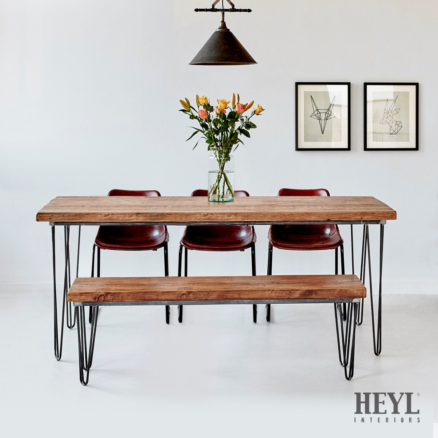 Industrial Reclaimed Wood Hairpin Dining Table