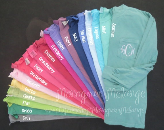 monogrammed comfort colors long sleeve shirt by monogrammelange