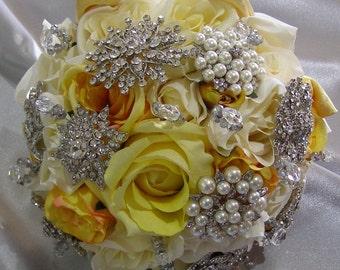 Irresistabily Iris -  Bridal Bouquet - Artificial Flower/Brooches/Crystal/ Wedding Bouquet