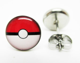 Pokemon Pokeball Earrings - New - Pair!