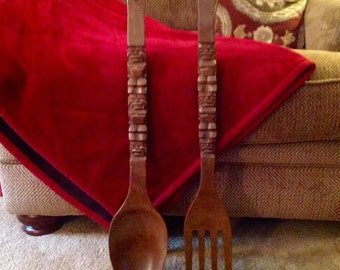 Vintage Wooden Fork and Spoon set Shabby Chic Kitchen Decor