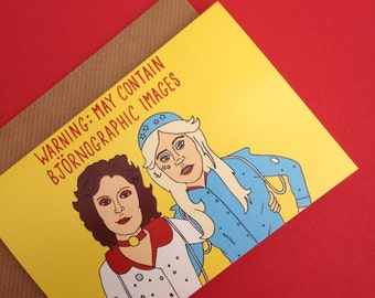 ABBA-Inspired Greetings Card From Full Colour Original Illustration Eurovision Sweden Swedish Bjorn Benny Frida Agnetha 70s Pop Music Humour
