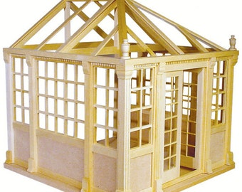 diy Conservatory dollhouse Kit unfinished dollhouse miniature roombox New