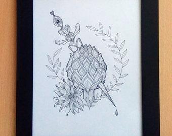 Print / / heart of artichoke