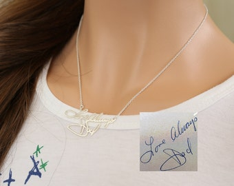 Sterling Silver Hand Written Necklace, Custom Handwriting Necklace, Personalized Signature Memorial Jewelry, Christmas gift