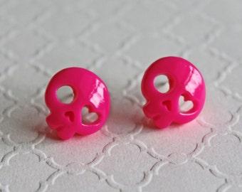 Skull pink earrings. Skull earrings, cute skulls