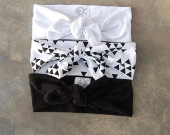THREE Black and White Headbands SET // Adult Headbands, Toddler Headbands, Baby Headbands