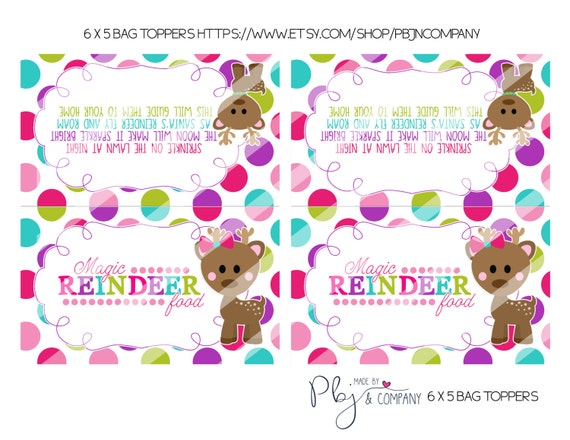 Magic reindeer food girl favor bag toppers holiday party printable