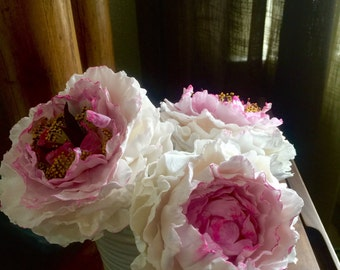 Cake topper- clay flowers - Fancy large peonies