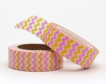 Washi Tape Chevron Zig Zag Pink Yellow