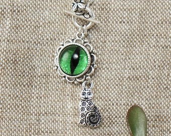 Necklace Green Cat Eye (#6565)