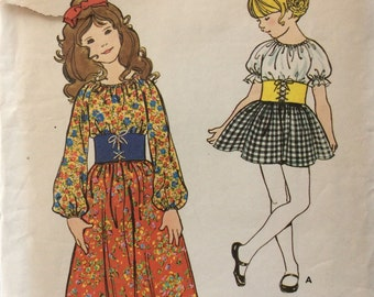 Butterick 6003 girls one-piece peasant dress in two lengths size 4 vintage 1970's sewing pattern