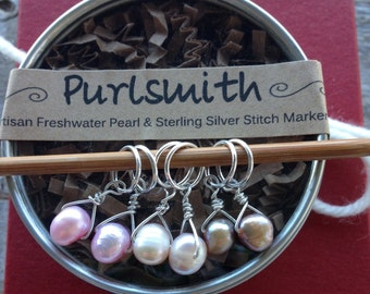 Pewter & Pink Mix Freshwater Pearl and Sterling Silver Stitch Markers for Knitting, Set of 6, Knitting Notions, Gift for Knitter,