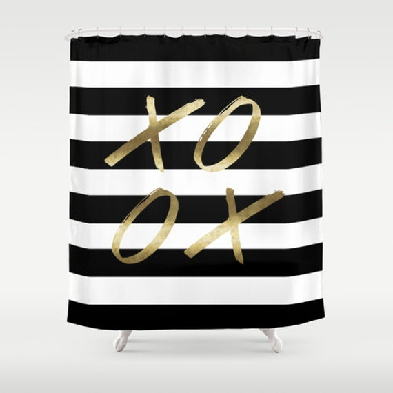 Black And White Stripe Shower XOXO Gold Curtain