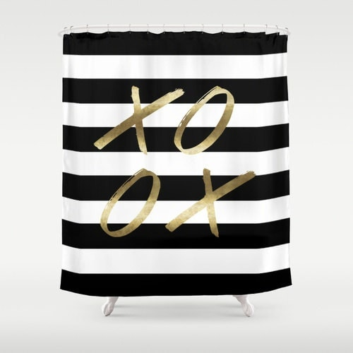 black and white stripe shower xoxo gold shower curtain