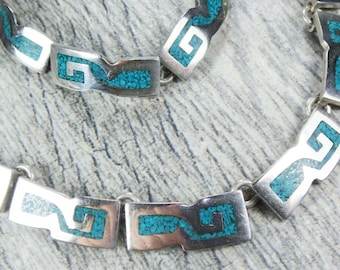 Vintage Sterling Silver Turquoise Necklace Bracelet Set Sterling Mexico Turquoise Inlay Bracelet and Necklace Vintage Heavy Modern Bold