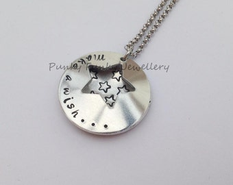 Make a wish necklace - star necklace - locket style necklace - clam shell pendant - hand stamped gift - gift for friend - gift for teenager