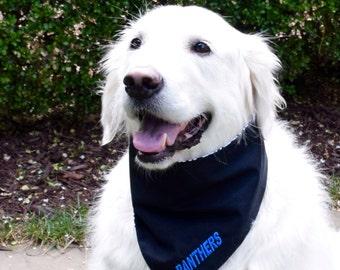 Carolina Panthers Team Spirit Dog Bandana || Classic Tie Pet PupDana Ready to Ship Personalized Puppy Gift || Three Spoiled Dogs