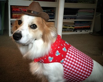 Country Cowgirl Red Gingham Dog Shirt