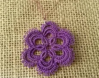 Needle Tatted Purple Floral Pendant with black satin cord