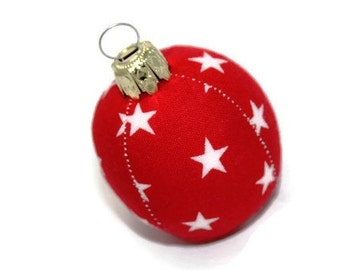Christmas ball mini star red white 4.5 cm unbreakable stitched ball bauble bauble