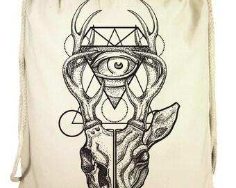 Gym bags deer antler deer skull backpack Gymbag cotton DrawString backpack silkscreen screen printing