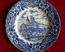 Vintage Broadhurst Ironstone Blue and White Tea / Bread and Butter Plate Austrian Castles Series - Stift Melk