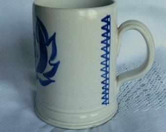Vintage Buchan Portobello Scotland Stoneware Tankard Blue Floral