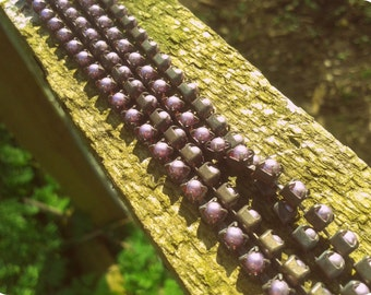Vintage Style glass Pearl cup chain Purple Lilac Rustic aged brass 4mm