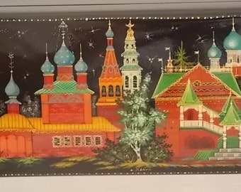 Russian Hand Painted Lacquer Box - FREE SHIPPING