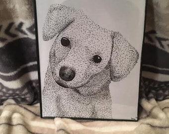 Stipple Dog with FREE frame