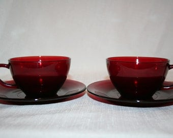 Ruby Red Cups & Saucers - 2 sets