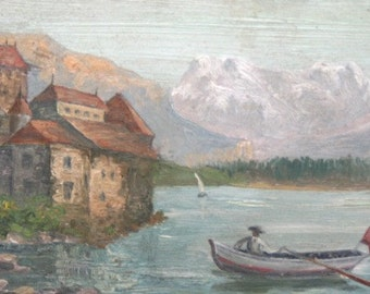 Antique Hand Painted Oil / Wood Box Landscape Lake