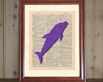 Dolphin Dictionary Print, Dolphin Lover Gift, Dolphin Decor, 3D Dolphin Drawing, Dolphin Wall Art, Purple Dolphin Print on Canvas Panel